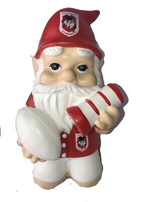 St George Dragons NRL Kneeling Garden Gnome with Solar Powered Torch