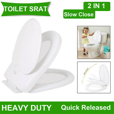 White Toilet Seat Toddler Training Quick Released Easy Clean For Kids & Adults