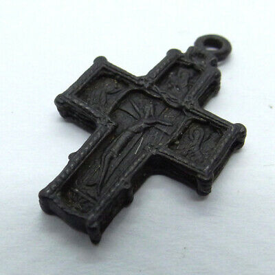 Old Russian Ancient Artifact Bronze Cross Double Sides
