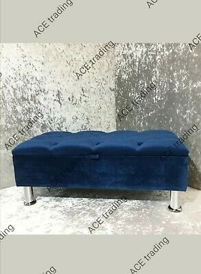 Midnight Blue Chesterfield Storage Ottoman Footstool,soft Plush velvet