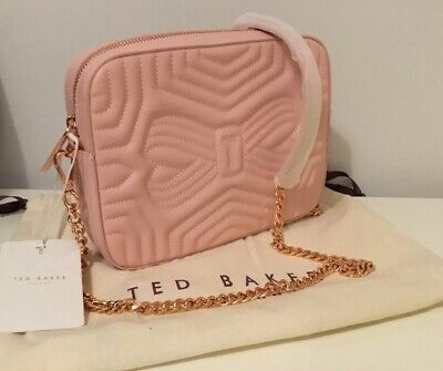 Ted Baker Quilted Leather Cross Body Bag BNWTS Light Pink & Rose Gold