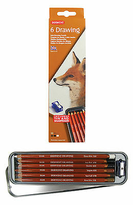 Derwent Drawing Pencils Set 6 x Soft Neutral Brown Colours with Tin & Sharpener