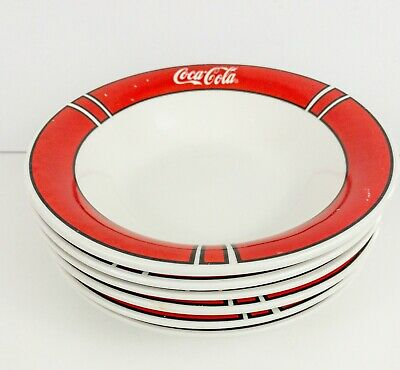 Coca-Cola Bowls Set of 6 Red Color Block Pattern 1997 Gibson China Coke VTG