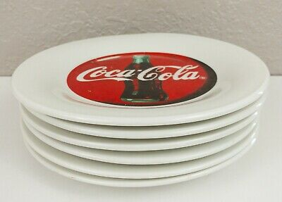 """6~Coca-Cola Gibson 7.75"""" Luncheon Plates Red Color Block Pattern China Coke"""