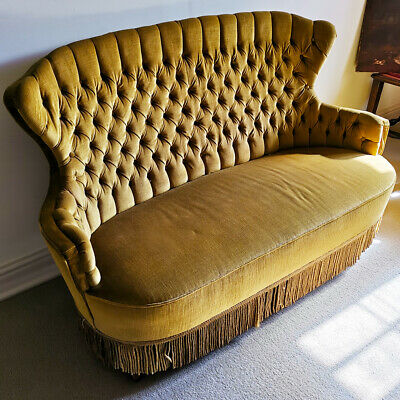 Small Antique Velvet Wingback Buttonback Sofa Seat Bedroom Lounge Yellow