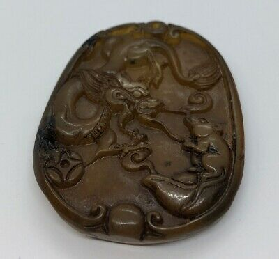 Vintage Antique Jade Necklace Pendant Carved Dragon Mouse Chinese