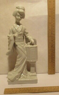 Standing GEISHA FIGURINE - White Porcelain - 10½ inches tall