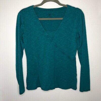 Horny Toad Womens Faux Wrap Crossover Top Teal Green Blue Long Sleeved Size S