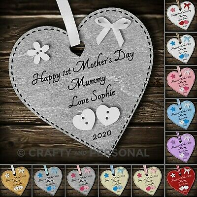 Personalised Happy 1st First Mothers Day gift plaque heart for Mummy Grandma