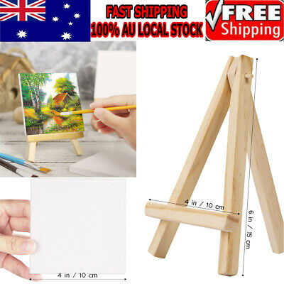 10pcs/Set Art Supply 4 x 4 inch Mini Canvas and Easel Set Painting Craft Drawing