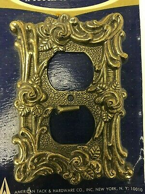Vintage Outlet Cover Antique Brass Cast Metal American Tack Deco Room