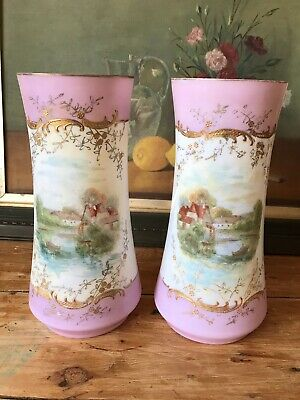 Pair Antique Mantel glass Vases with Country scene
