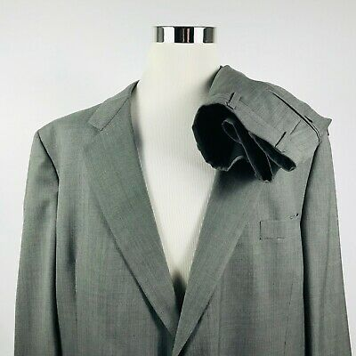 Hart Schaffner Marx 50L Suit 42 x 28 Pleated Gray 100% Wool Two Button Vented