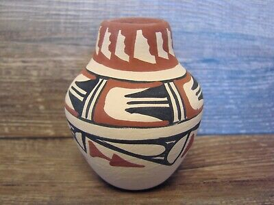 Small Jemez Indian Pottery Hand Painted Pot by Martina C
