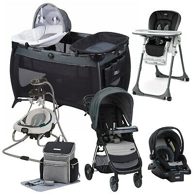 Baby Stroller Travel System with Car Seat Swing Playard Hi-Chair Bag Set Combo