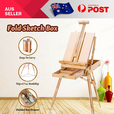 Portable Wooden Easel Artist Display Painting Tripod Stand Sketch Box Foldable