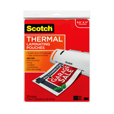 """Scotch Thermal Laminating Pouches, 8-1/2"""" x 11"""", Clear, Pack Of 25 Sheets, TP38"""