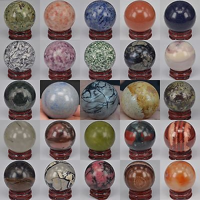 40MM Wholesale Lot Mix Natural Gemstone Sphere Crystal Healing Massager BALL