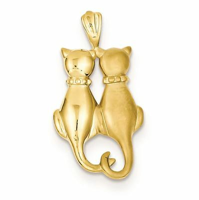 14K YellowORWhite W//Rose Gold Solid/& D//C Sitting Cats Pendant//Charm 0.89-1.26 GM
