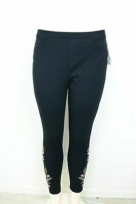 Style Co Womens Leggings Size Petite Large Cotton Embroidered Floral Black NWT
