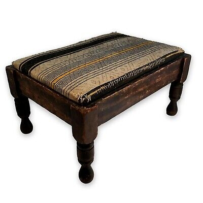 Primitive Antique Farmhouse Wooden Footstool Stool 1930 Worn Fabric Charming!