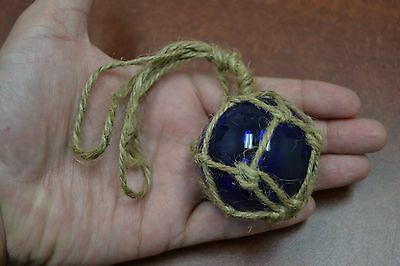 """REPRODUCTION YELLOW GLASS FLOAT BALL BUOY WITH FISHING NET 2/"""" #F-369"""