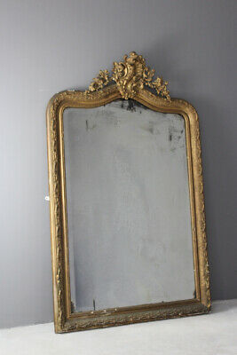 Large Antique Rococo Style Gilt Wood Mirror