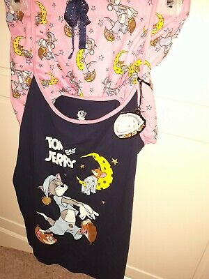 Tom & Jerry Official Wb Ladies Vest Top & Shorts Pyjama Set Pj's Bnwt Primark L