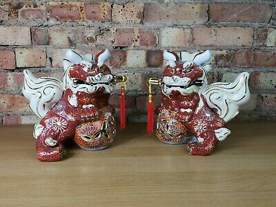 Vintage Pair of Matching Porcelain Chinese Fu Foo Dogs Figurines Ornaments