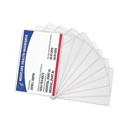 10 PCS New Medicare Card Holder Protector Sleeve Clear 6 Mil wallet size sturdy