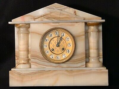 Large Antique French JAPY FRERES Polished Marble/Onyx 8 Day Mantle Clock