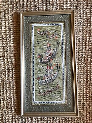 Vintage Chinese Oriental Silk Hand Embroidery  Panel Children On Boats Swimming