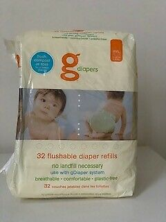 NEW gDiapers 32 Count Flushable Diaper Refills M/L 13-36 LBS
