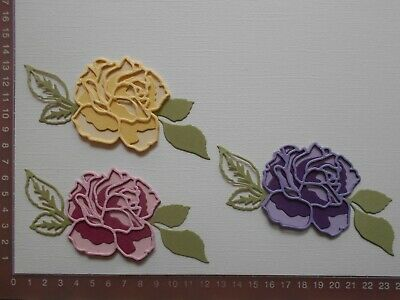 Die cuts - Triple Layered Roses Leaves x 3  15 Pieces Birthday