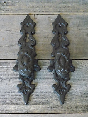 2 Cast Iron LARGE Antique Style FANCY Barn Handle Gate Pull Shed Door Handles