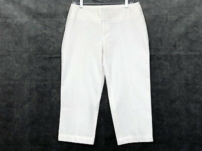INC Womens Capris Size 8 Cropped Pants International Concepts White Stretch