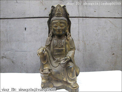Chinese Folk Bronze Classic South Sea Goddess of Mercy Guan-yin buddha Statue