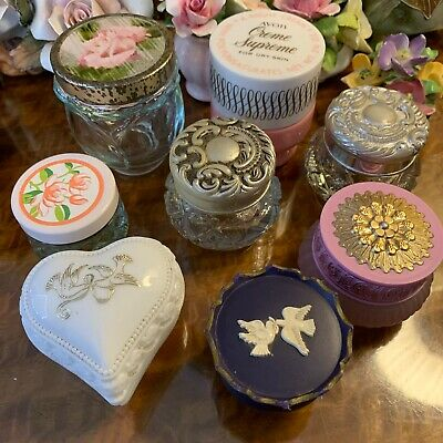 Bulk Lot Of 8 Vintage Avon Perfume Cream Jars Pots Collection Trinket Boxes