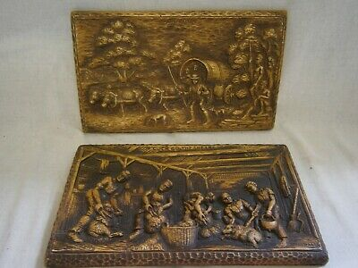 Lovely Australiana Carvings - Shearing Shed - Bullock Cart Etc By F Rentz - Vgc