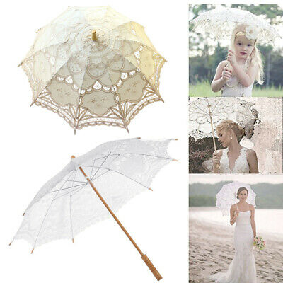 Vintage Chic Lady Handmade Cotton Parasol Lace Sun Umbrella Bridal Wedding Decor