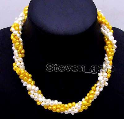 """Two strands 6mm White and Yellow Baroque pearl combination 18"""" set necklace-6102"""