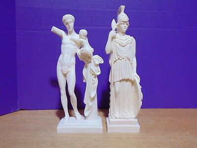 """2 Resin Greek Statuettes The Hermes of Praxiteles And Unknown 9 1/4"""" And 10"""""""