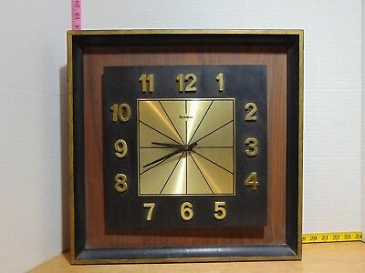 Mid Century Modern Verichron Wall Clock Wood And Metal - Tested And Works