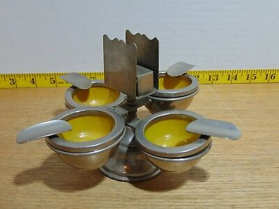 4 Vintage Art Deco Chrome And Enamel Ashtrays With Holder And Match Book Holder
