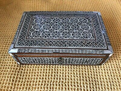 Antique Victorian French Boulle Marquetry Shell Horn Inlayed Box With...