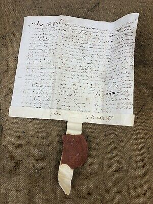 Impressive Early Vellum Indenture Parchment w/ Seal, King James I, Dated 1617