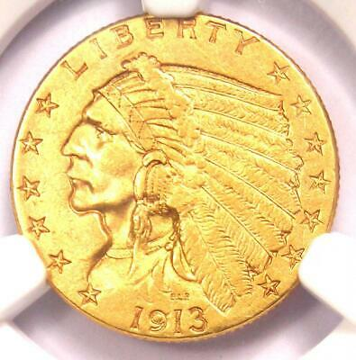 1913 Indian Gold Quarter Eagle $2.50 Coin - Certified NGC AU55 - Rare Coin!