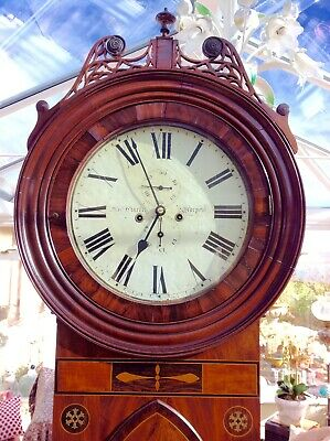 19th Century unusual 2 bells inlayed longcase grandfather clock