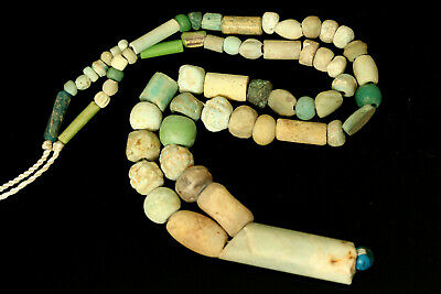 Ancient Egyptian 600 B.C Nile Mummy Faience Beads Strand