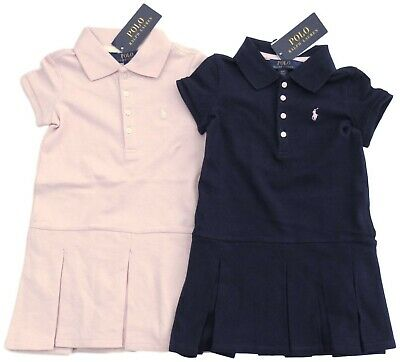 RALPH LAUREN Girls ss Polo DRESS pleated drop waist Pink or Navy